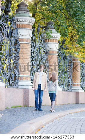 Couple walking in St.Petersburg, Russia - stock photo