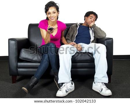 couple watching tv - stock photo