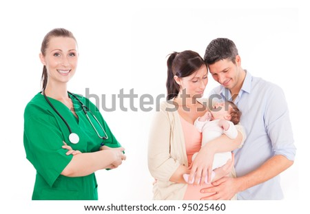 couple with baby in hospital - stock photo