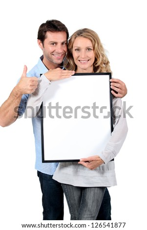 couple with black frame - stock photo