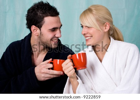 couple with coffee in the morning - stock photo