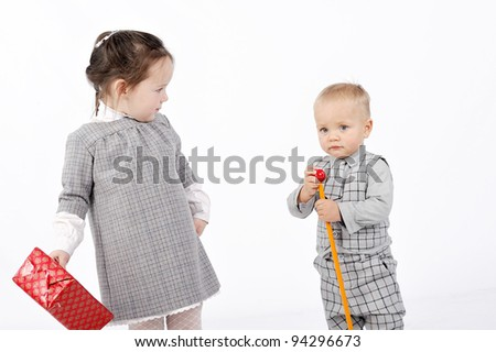 couple with gift - stock photo