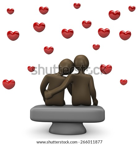Couple with red hearts, 3d illustration with black cartoon character - stock photo