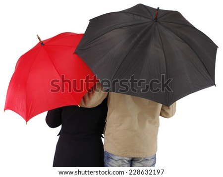 Couple with umbrella, isolated on white background - stock photo