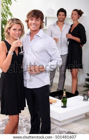 couples having a party - stock photo