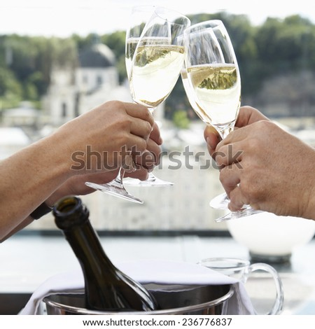 Couples Toasting with Champagne - stock photo