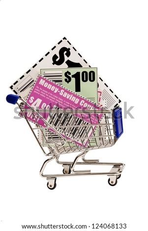 Coupons In Shopping Cart XXXL - stock photo