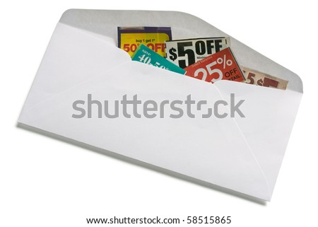 Coupons inside of white envelope isolated on white background. - stock photo