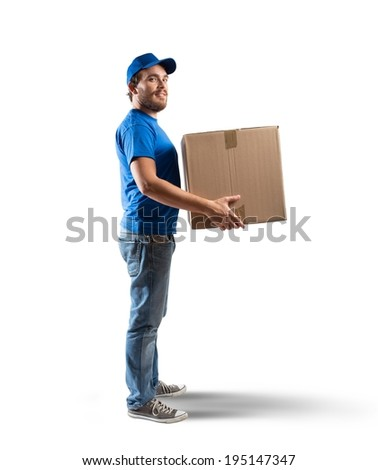 Courier at work isolated on white background - stock photo