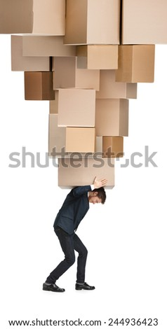 Courier delivers big order, isolated, white background - stock photo