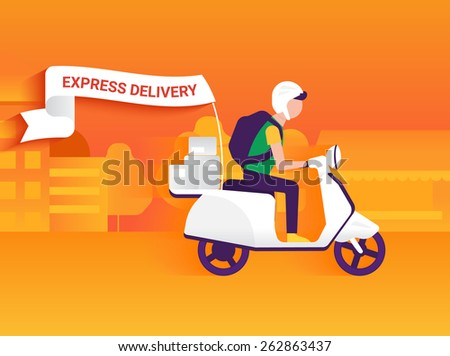 Courier riding white motorbike to deliver mails to the clients - stock photo