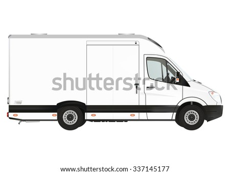 Courier van on the white background. Raster illustration. - stock photo