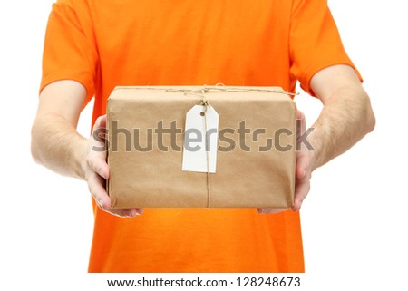 courier with parcel box, isolated on white - stock photo