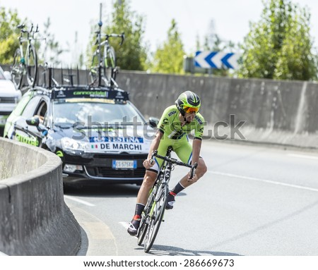 COURSAC,FRANCE-JUL 26:The Italian cyclist Alessandro De Marchi (CannondaleTeam) pedaling during the stage 20 ( time trial Bergerac - Perigueux) of Le Tour de France 2014. - stock photo
