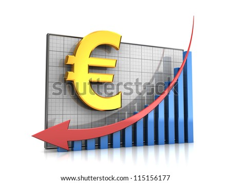 Course decline: graph with euro sign and arrow down - stock photo