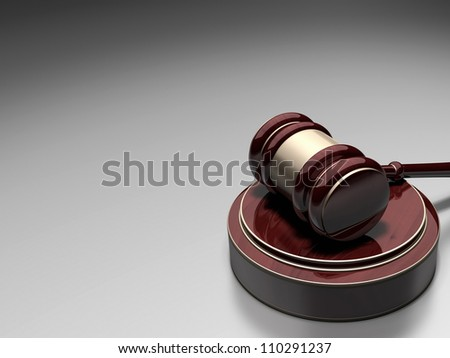 Court Gavel  3d render  ( gradient background over ) - stock photo
