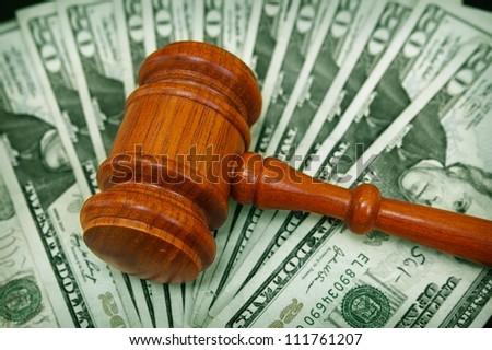 court gavel on an array on money - stock photo