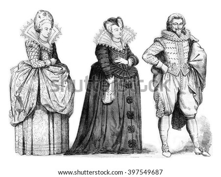 Court lady, Marie de Medici widow of after a woodcut, vintage engraved illustration. Magasin Pittoresque 1857. - stock photo