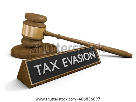 Court law against actions taken to evade taxes, 3D rendering - stock photo