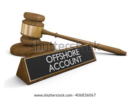 Court law dealing with offshore money accounts that avoid taxes, 3D rendering - stock photo