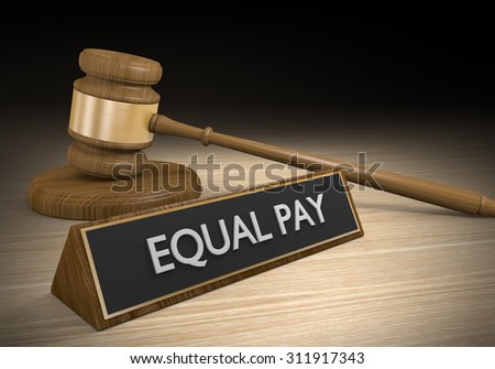Court legal concept of equal pay for equal work for women and minorities - stock photo