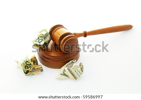 court legal gavel with crumpled cash - stock photo