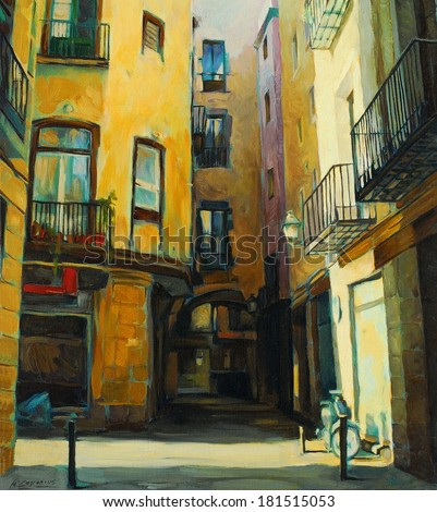 court yard in gothic quarter of barcelona, painting, illustration - stock photo