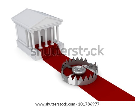 Courthouse, red carpet and iron trap.Isolated on white background.3d rendered. - stock photo