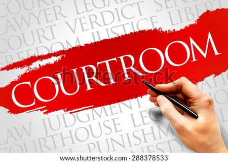 Courtroom word cloud concept - stock photo