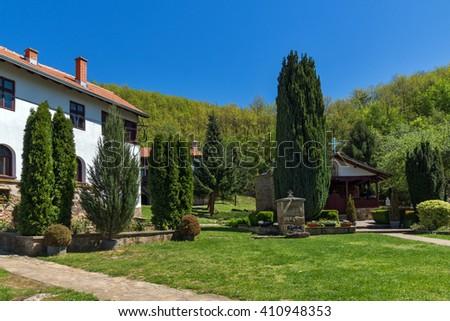 Courtyard and church of Temski monastery St. George, Pirot Region, Republic of Serbia - stock photo