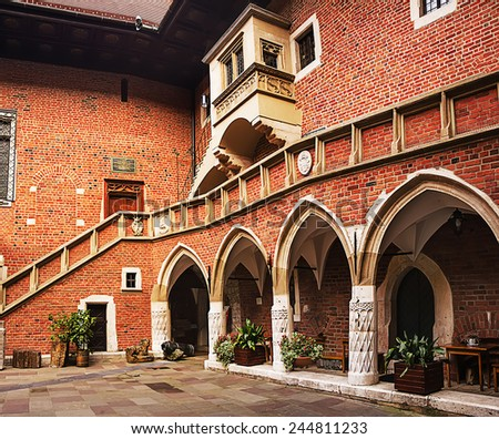 Courtyard at the famous Jagiellonian University in Cracow, Poland - stock photo