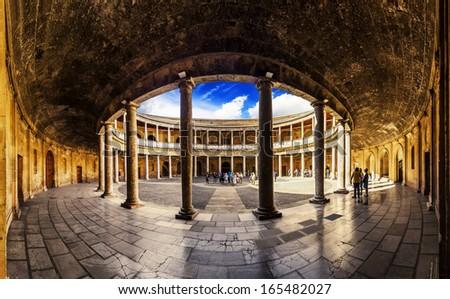 Courtyard in Palacio de Carlos V in La Alhambra, Granada, Spain. - stock photo