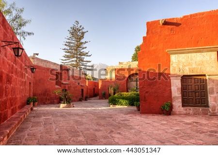 Courtyard in the Monastery of Santa Catalina in Arequipa, Peru - stock photo