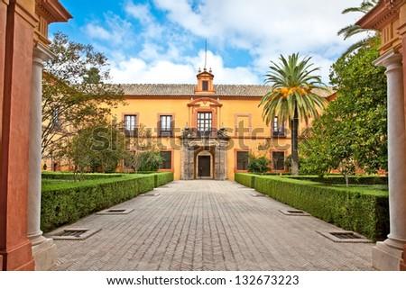 Courtyard of Alcazar,, Seville, Andalusia, Spain - stock photo
