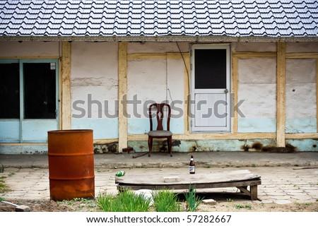 Courtyard of korean house, Donghe, South Korea - stock photo