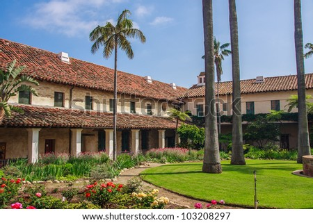 Courtyard of Santa Barbara Mission - stock photo