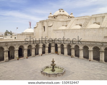 Courtyard of the Church of the company of Jesus at Arequipa, Peru - stock photo