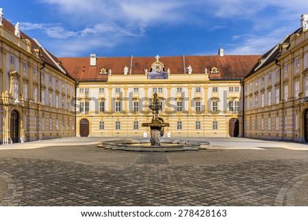 Courtyard of the historic Melk Abbey, Austria - stock photo
