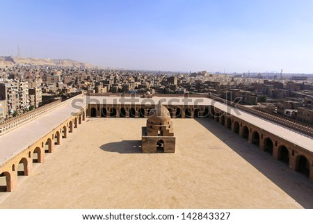 Courtyard of the Ibn Tulun Mosque in Cairo - stock photo