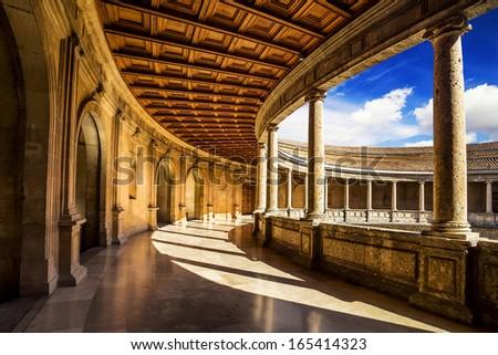 Courtyard of the Palacio de Carlos V in La Alhambra, Granada, Spain. - stock photo
