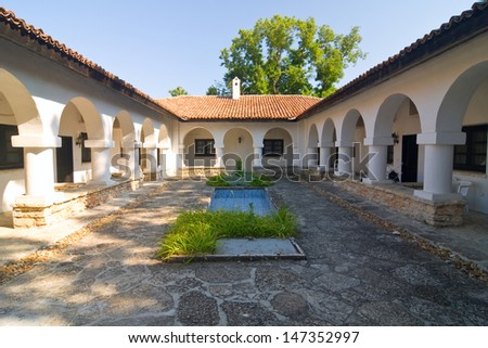 Courtyard with swimming pool, Gardens in Balchik, Bulgaria - stock photo