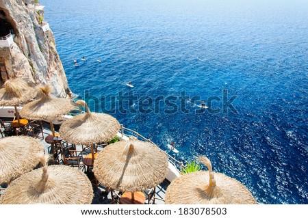 Cova d'en Xoroi, cove in Cala en Porter, Minorca,Balearic islands, Spain - stock photo