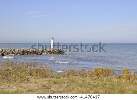 cove and Lighthouse at Fifty Point, Ontario - stock photo