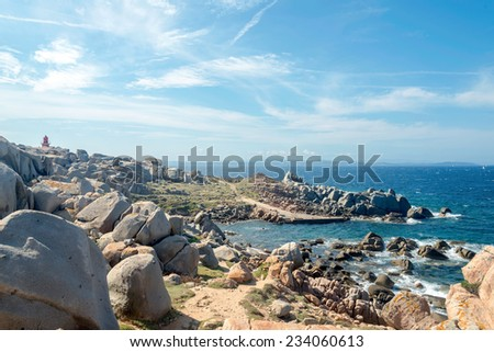 Cove of Lighthouse on the Lavezzi Island, Corsica France - stock photo