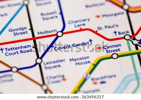 Covent Garden Station on a map of the Piccadilly metro line in London, UK. - stock photo