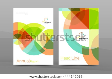 Cover design of annual report cover brochure, modern abstract background template, layout A4 size page - stock photo