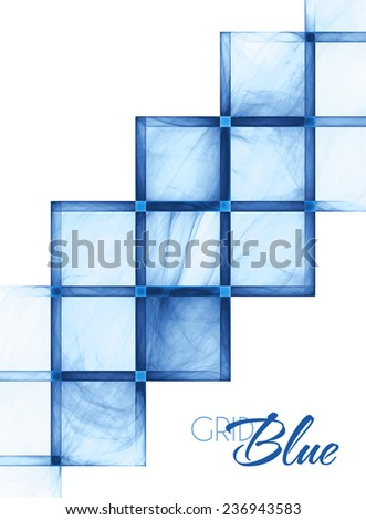 Cover design with abstract blue textured grid on a white background. Raster - stock photo