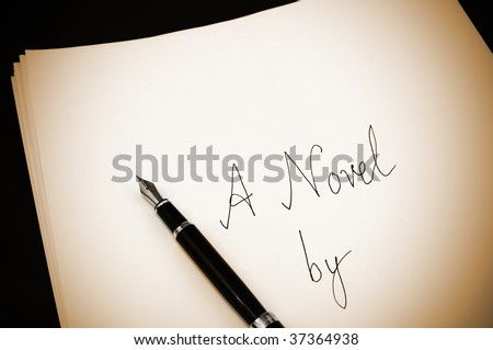 Cover page of a draft novel written using a fountain pen, vintage photo - stock photo
