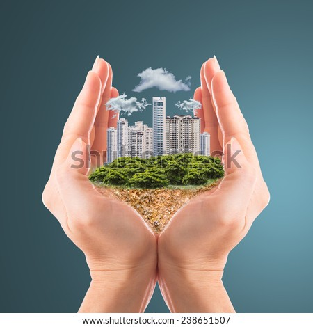 Cover your property with your hands  - stock photo