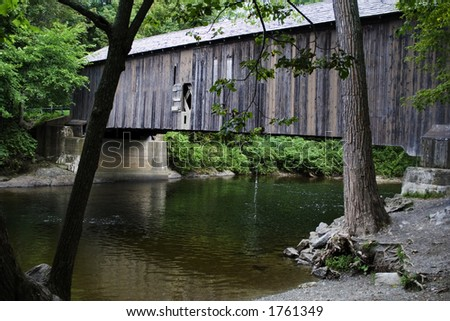 Covered Bridge Circa 1858, New York State, USA - stock photo